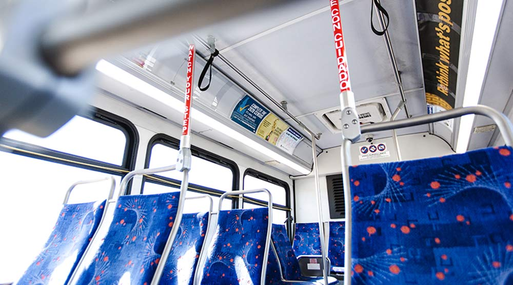 Inside of a treasure valley bus