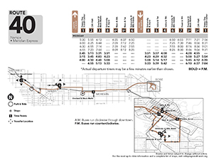 Visual map of the bus route 40 in Nampa, Idaho