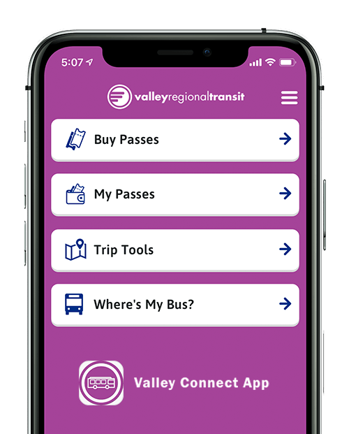 Valley Connect app for buying passes and planning your bus trip