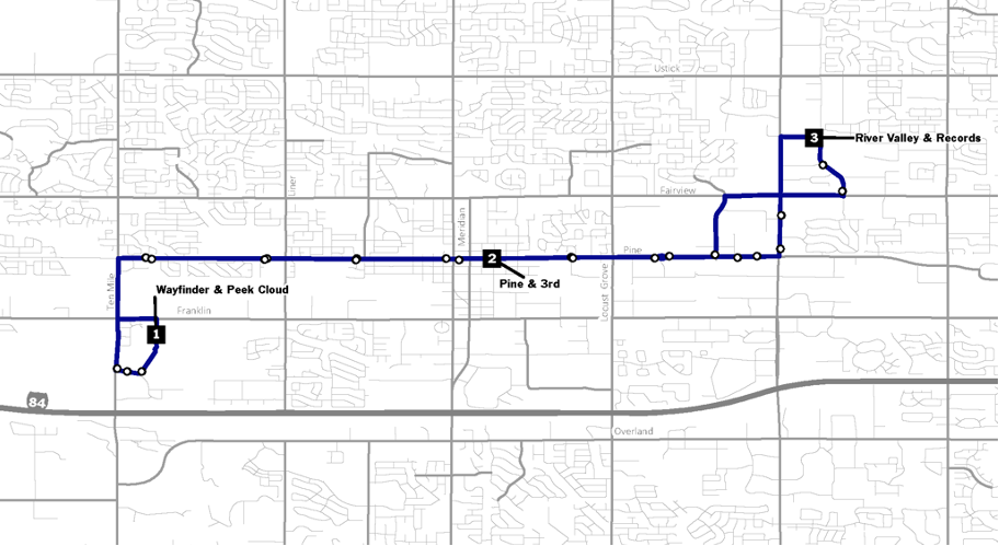 Meridian fixed route service map